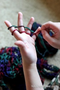 Yarn crafts for kids - finger weaving