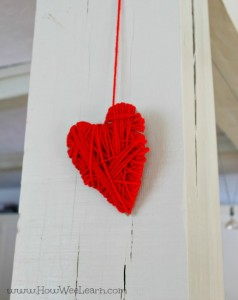 Yarn crafts for kids - yarn wrapped hearts