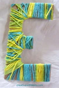 Yarn crafts for kids - yarn wrapped letters