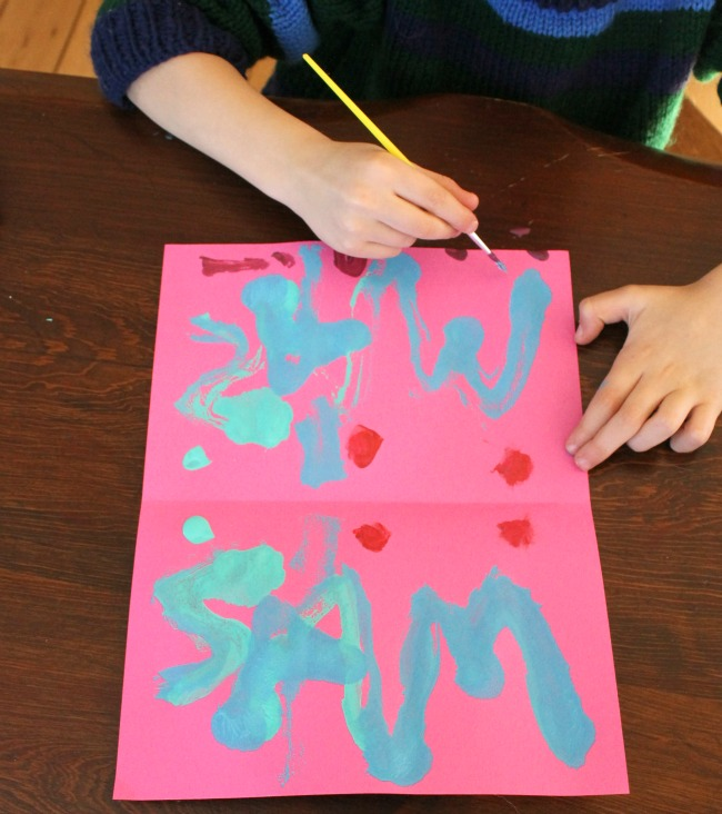 Beautiful name art for kids - name symmetry butterflies!