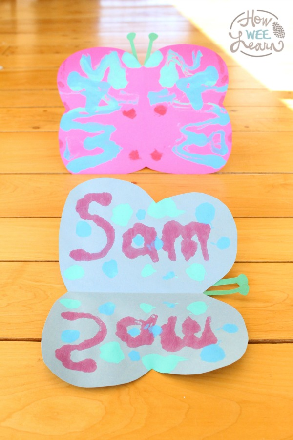 A beautiful name art activity for kids! Name symmetry butterflies