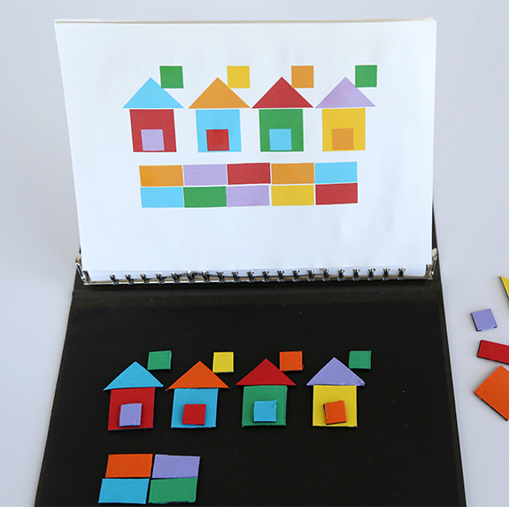 quiet activities for travel - magnetic pattern board