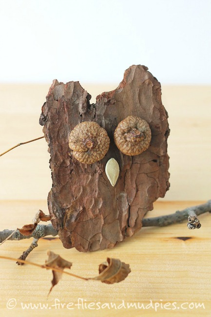 Nature Crafts For Kids   Bark Owls