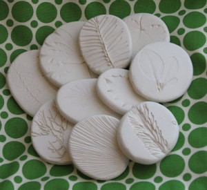 Nature crafts for kids - clay imprints