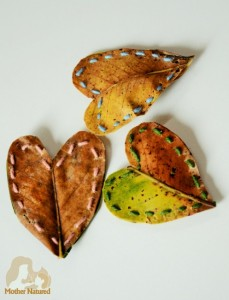 Nature crafts for kids - leaf hearts