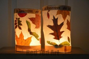 Nature crafts for kids - leaf lanterns