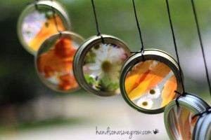 Nature crafts for kids - nature suncatcher wind chimes