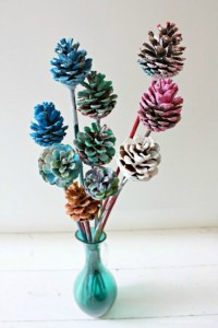 Nature crafts for kids - painted pine cone flowers