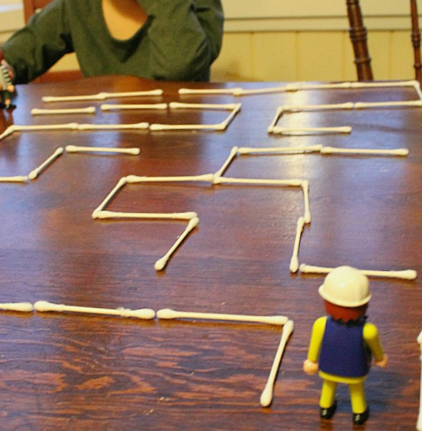 Quiet time activities - Q-Tip maze