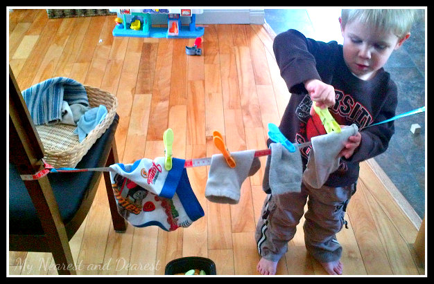 Quiet time activities - homemade clothesline