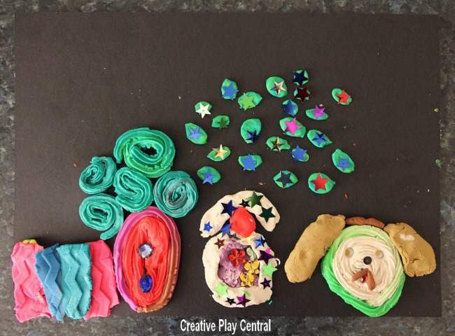 Quiet time activities - play dough pictures