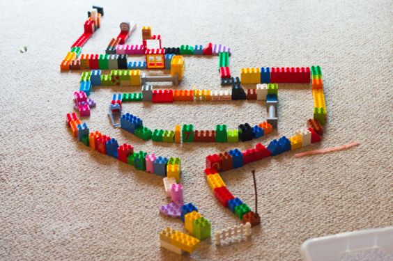 Quiet time activities - pompoms and duplo maze