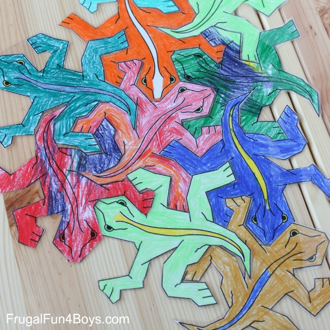 Quiet time activities - print and color tesselations