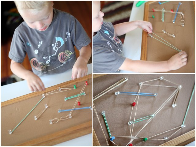 Quiet time activities - push pin geoboard
