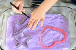 Calming activities for kids - lavender salt tray