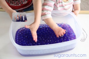 Calming activities for kids - lavender water beads