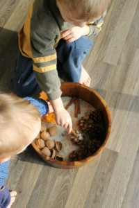 Calming activities for kids - nature sensory bin