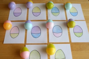 Easter egg hunt ideas - mixed up egg matching