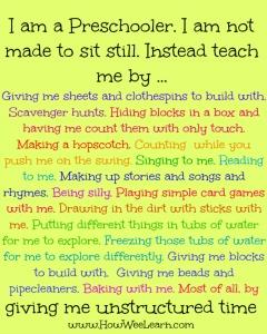 I am a preschooler.