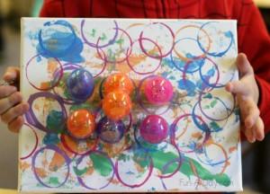 Preschool Easter activities - 3D art with plastic eggs