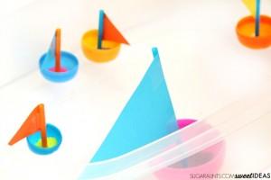 Preschool Easter activities - plastic egg boats