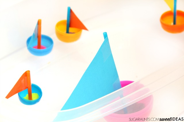 Preschool Easter activities - plastic egg boats