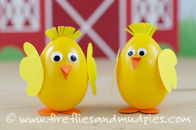 Preschool Easter activities - plastic egg chicks