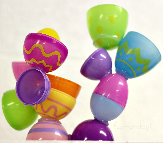 Preschool Easter activities - plastic egg sculpture