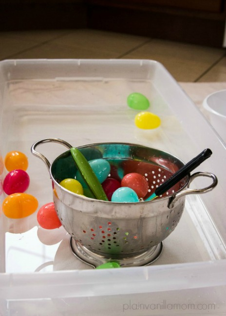 Preschool Easter activities - scooping eggs