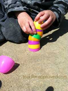 Preschool Easter activities - stacking egg game