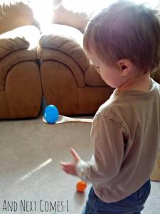 Preschool Easter activities - wobbly egg spoon balancing