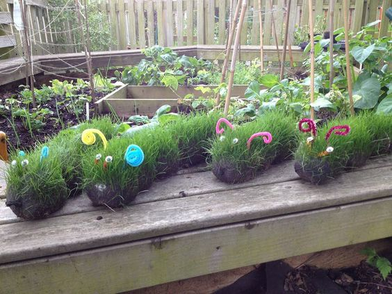 Fun garden ideas - grass caterpillars