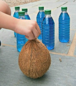 Fun outdoor games for kids - coconut bowling