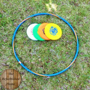 Fun outdoor games for kids - hula hoop frisbee game
