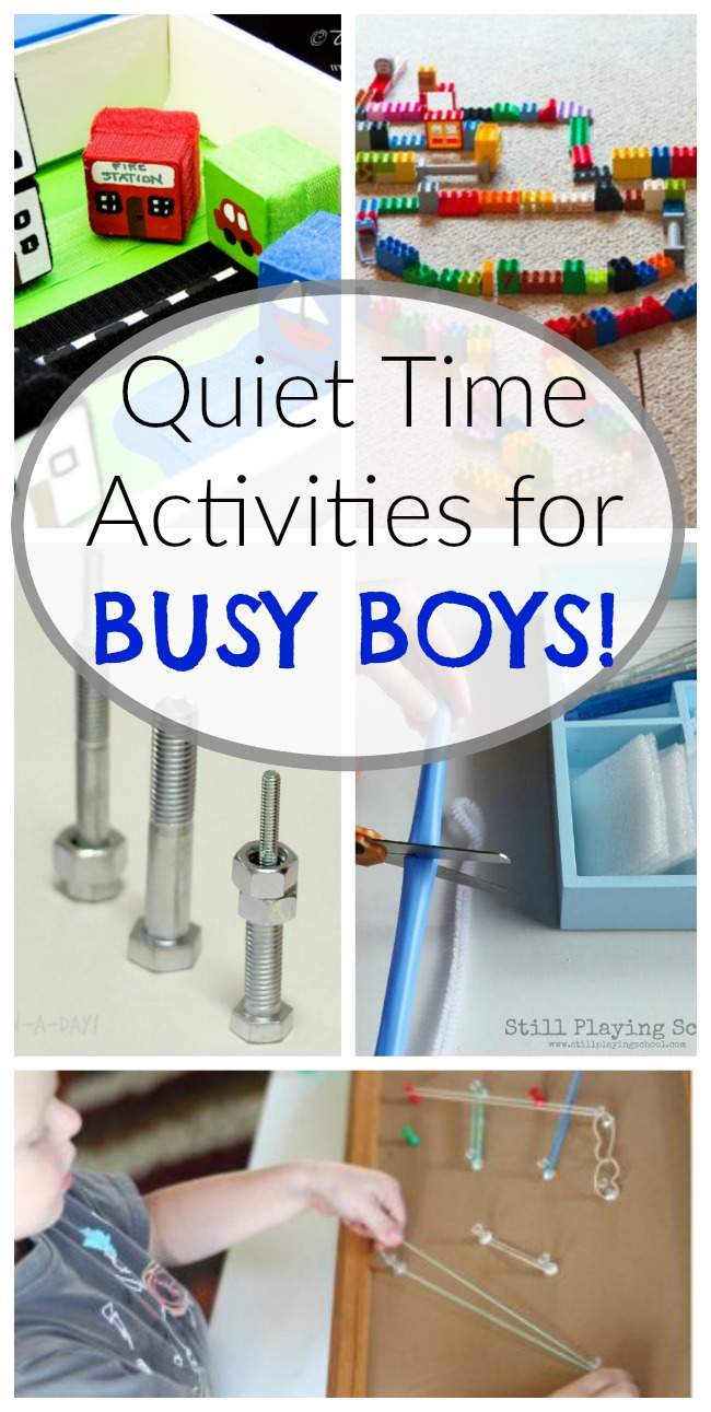 These quiet time activities and quiet boxes are perfect for BUSY boys, girls, preschoolers - any kids that like to move! #activitiesforboys #preschoolactivites #quiettime #quiettimeactivities #quietbins #quietboxes