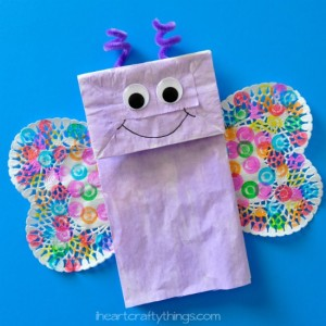Spring crafts for toddlers - paper bag butterflies