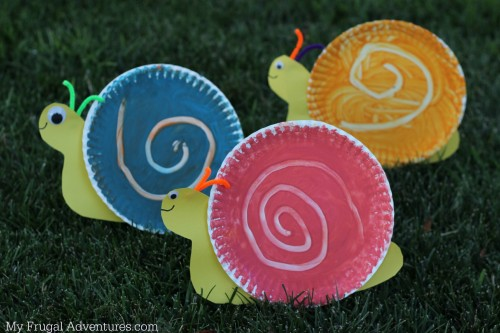Spring crafts for toddlers - snails