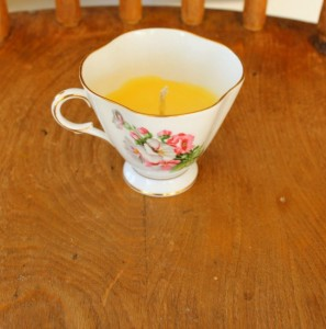 Uses for beeswax - tea cup candle