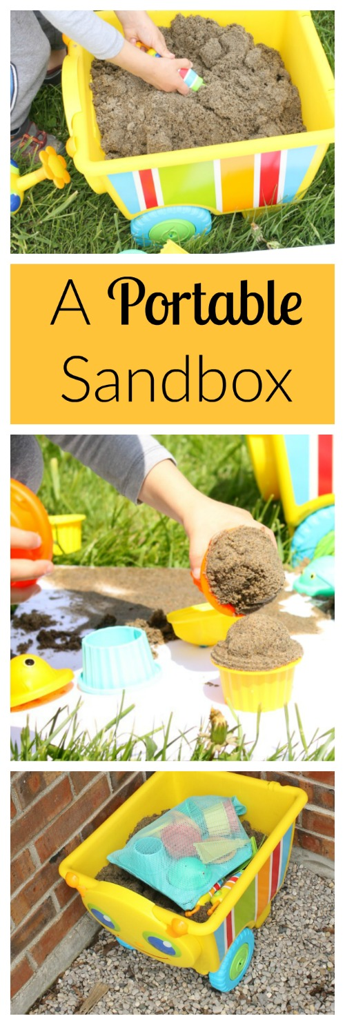 A portable sandbox on wheels! Perfect sensory play for preschoolers
