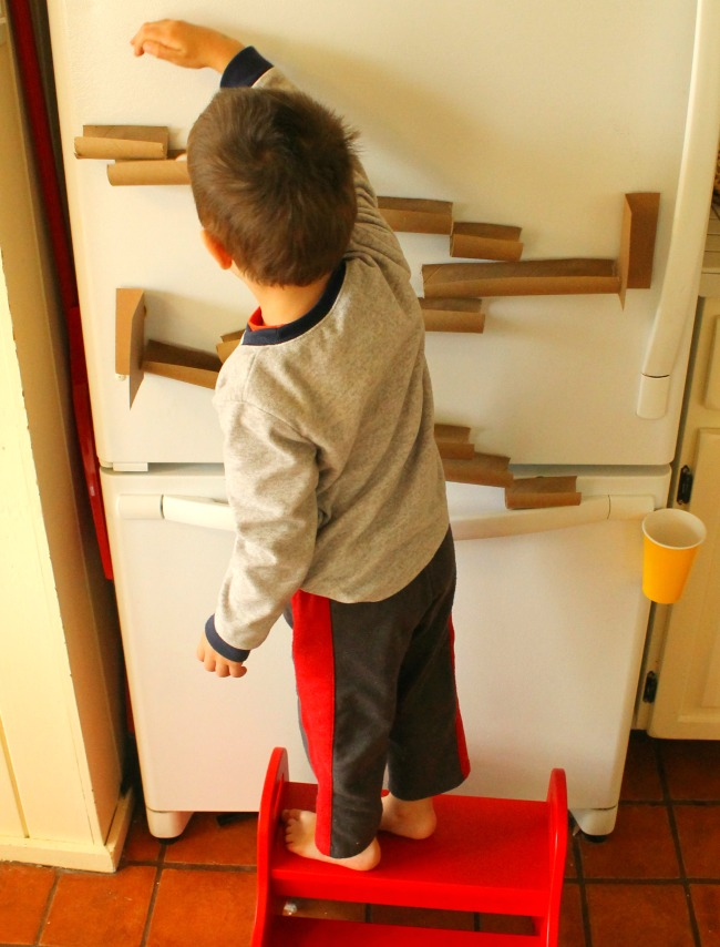 A magnetic marble run for the fridge - perfect quiet time!