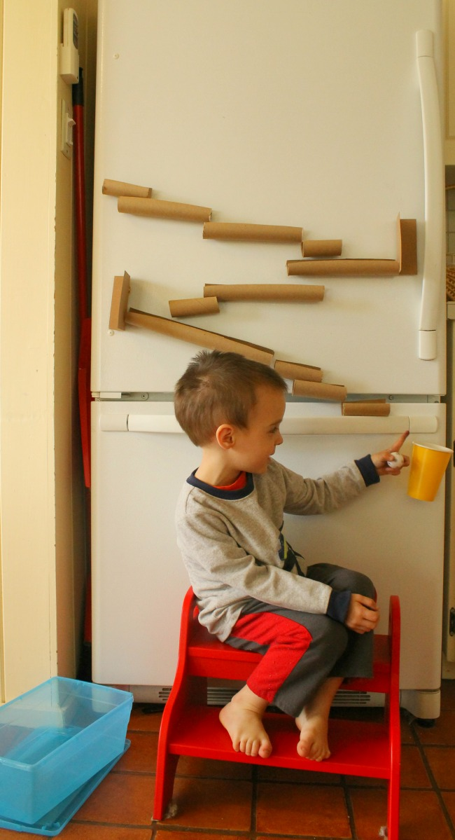 A magnetic marble run for the fridge! Great for quiet time for preschoolers.