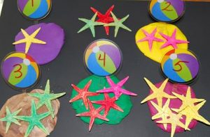 number summer learning - play dough ocean counting