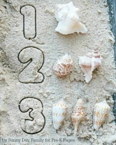 number summer learning - stamped sand numbers