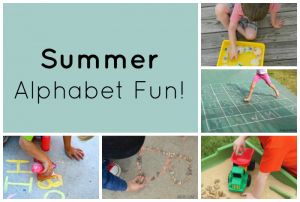 Fun ways to play and learn the alphabet this summer! Great ABC games and activities for preschoolers. #preschool #preschoolers #learning #alphabet #summer