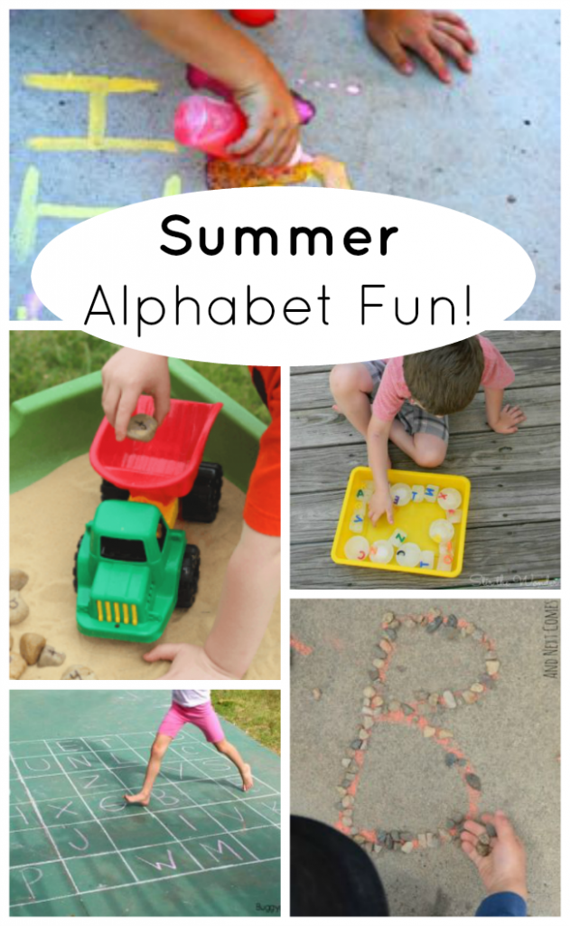 Fun ways to learn the alphabet this summer! ABC and letter games for preschoolers. #preschoolers #summer #fun #play #learning #alphabet