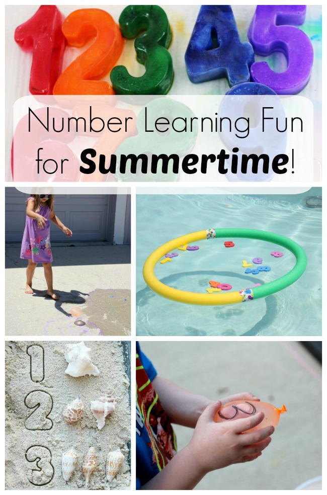 These number learning games and activities are perfect for preschoolers this summer. Math is fun! And math outdoors is even more fun!