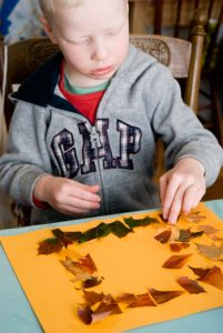 Fall crafts for kids - leaf mosaics