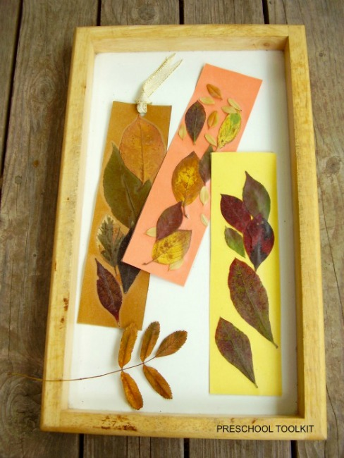 Fall leaves craft - leaf bookmarks