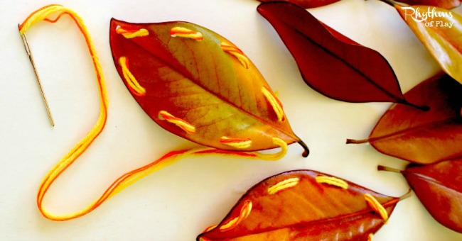Fall leaves craft - sewing leaves