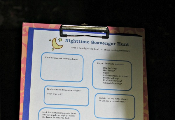 Fall science experiments - nighttime scavenger hunt